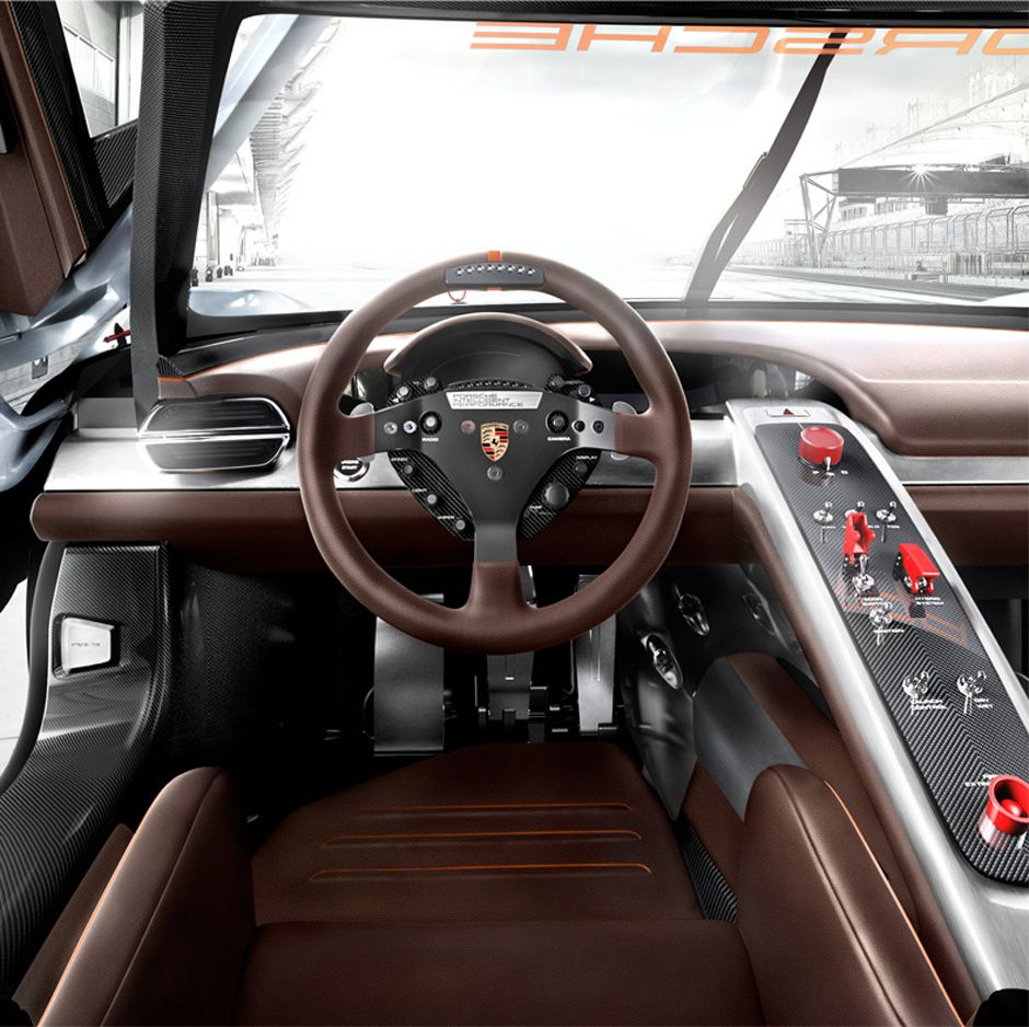 porsche 918 rsr concept brown grey black silver carbon fiber console switches aluminum. Black Bedroom Furniture Sets. Home Design Ideas