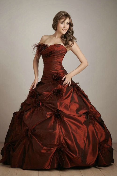 Lace Up Ruched Feather Strapless Long Ball Gown Burgandy ...