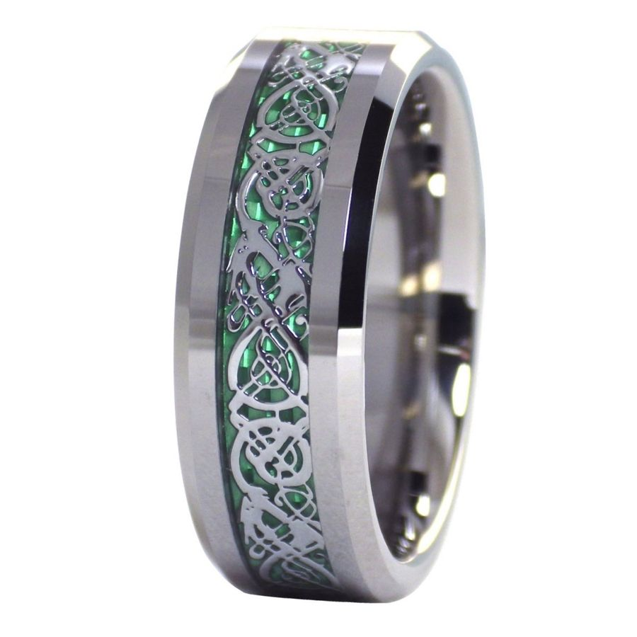 Green celtic dragon ring mens womens tungsten ring size 6 for Celtic wedding rings for men