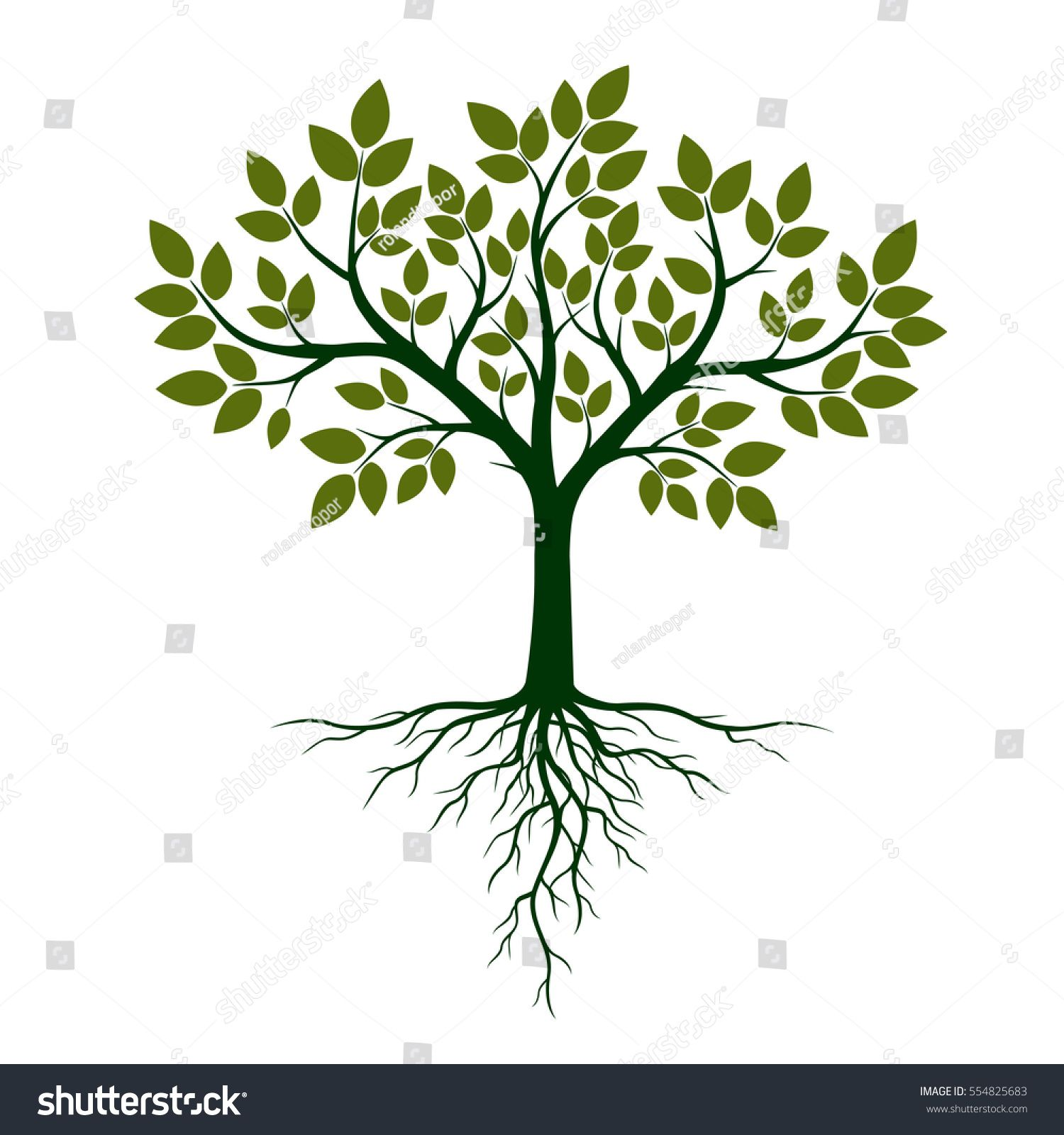 Green Tree With Roots Vector Illustration Ad Affiliate Tree Green Roots Illustration Roots Illustration Yoga Tree Green Trees