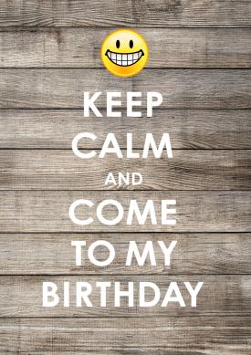 Witzige Einladung zur Geburtstagsparty in Keep Calm Look mit