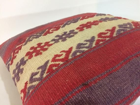 """16""""x16"""" Inches 40x40 Cm Hand Embroidery Kilim Pillow, Vintage Wool Pillow Cover"""