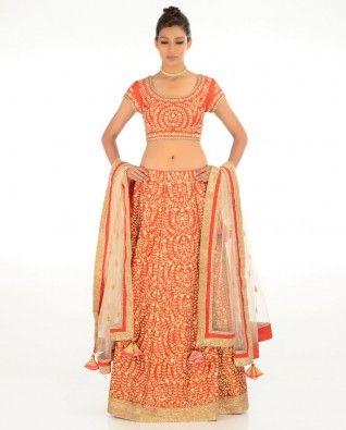 #Exclusivelyin, #IndianEthnicWear, #IndianWear, #Fashion, Heavily Embellished Red Lehenga