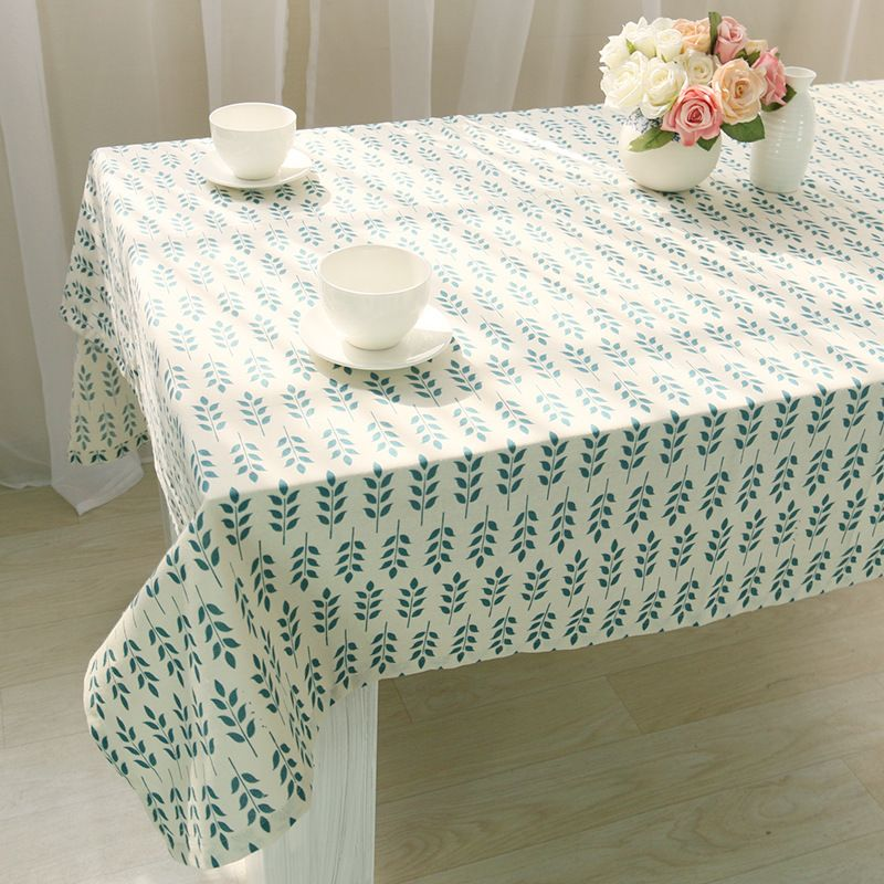 Linen Table Cloth Country Style Flower Print Cotton Clothes Rectangle Cover Tablecloth For Home