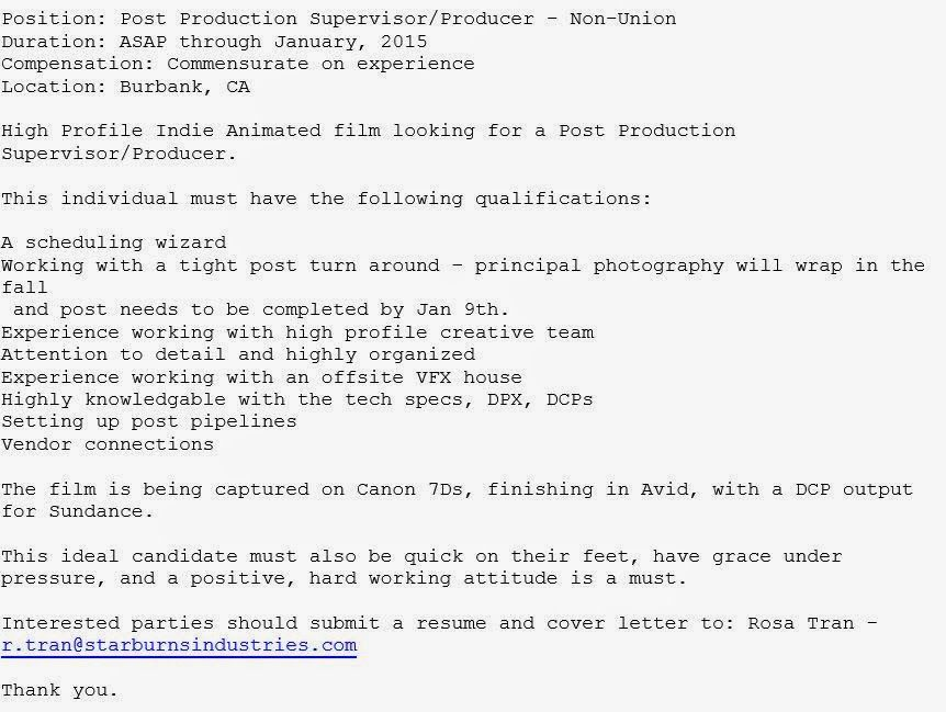Post Production Supervisor Needed DonT Forget To Check My Blog