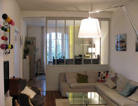S paration de la cuisine par une cloison vitr e bois verri res small apartment decorating - Separation de salon ...