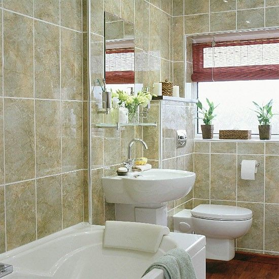 small bathroom with spacesaving suite  ideal home