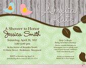 Shabby Chic Baby Shower Invitation with Birds