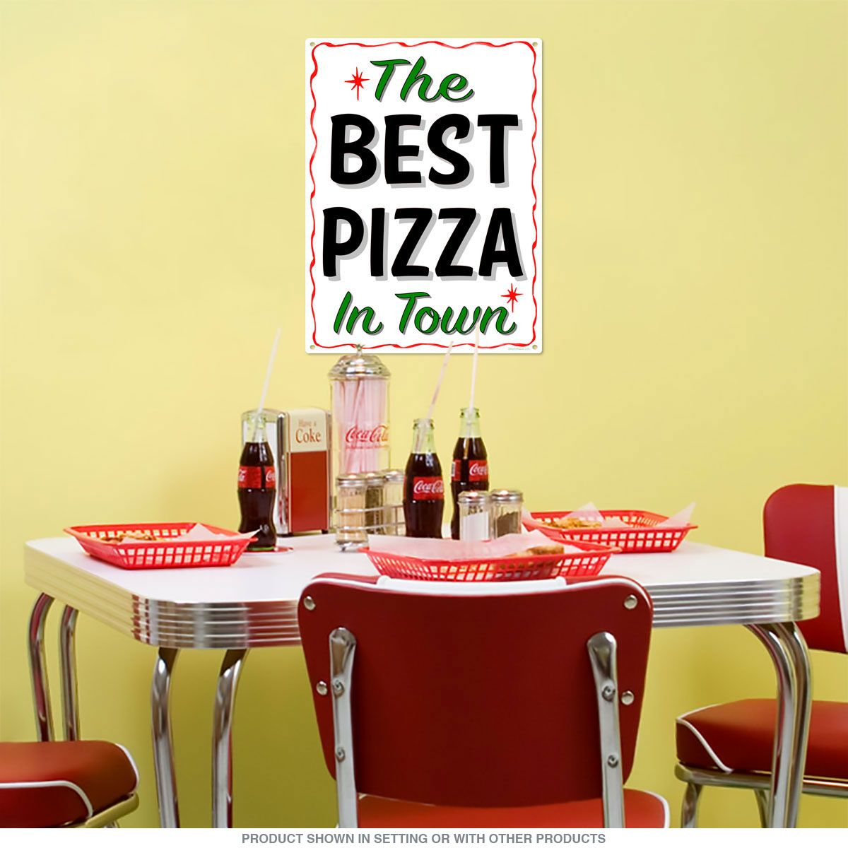 Best Pizza in Town Wavy Border Metal Sign_D | Wall decor, Steel and ...