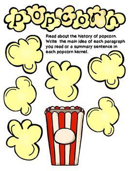 main idea and summarizing popcorn graphic organizer 7th grade ela rh pinterest com