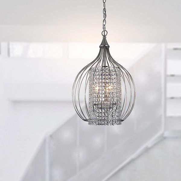 13 5 Compact Satin Nickel And Crystal Pendant Chandelier 14340221 Ping