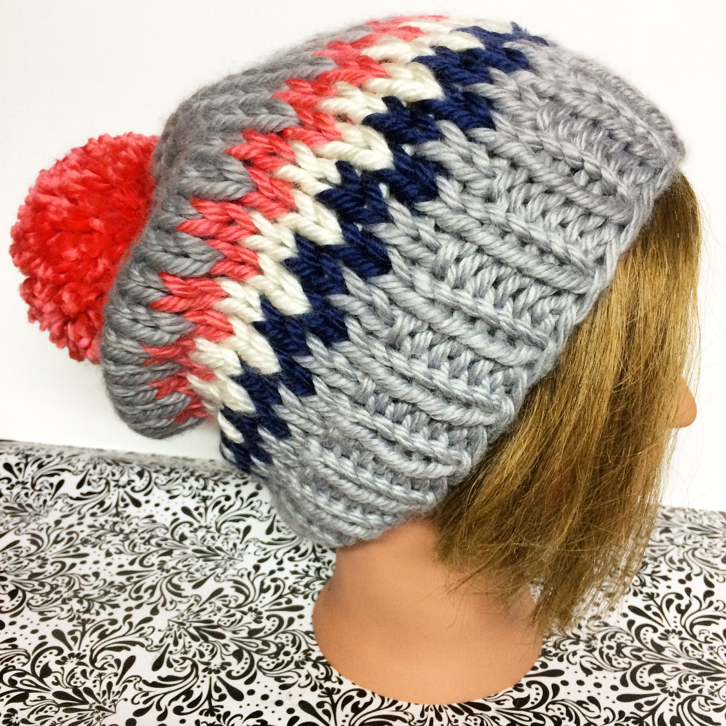Gorgeous Knitted Women\'s Slouchy Beanie in Gray/Coral/White/Navy ...