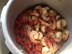 spicy shrimp in pressure cooker in 7 minutes.  serve with brown rice!
