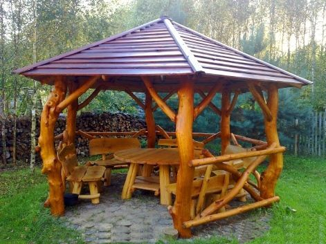 Wooden Pavillon Backyard Patio Designs Outdoor Deco Diy Patio