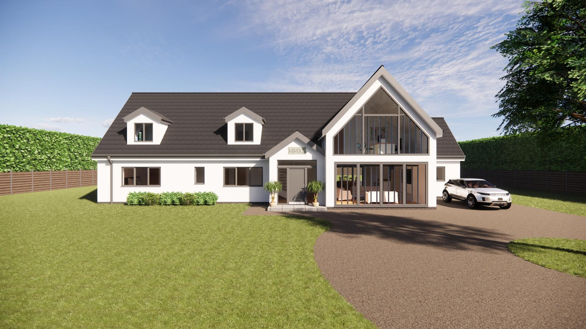 New to our range of large dormer bungalow designs, a spacious five-bedroomed dwelling with open plan living on the Ground Floor. Click the link to find out more.