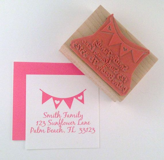 Return Address Heart Banner Bunting Triangles by cupcaketree, $16.50