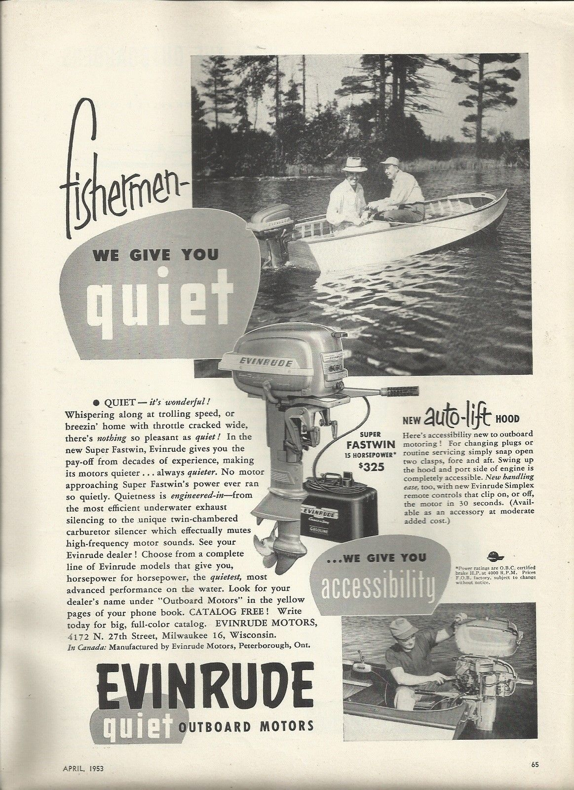 small resolution of 1953 evinrude motors ad the super fastwin 15 hp outboard motors boats boat