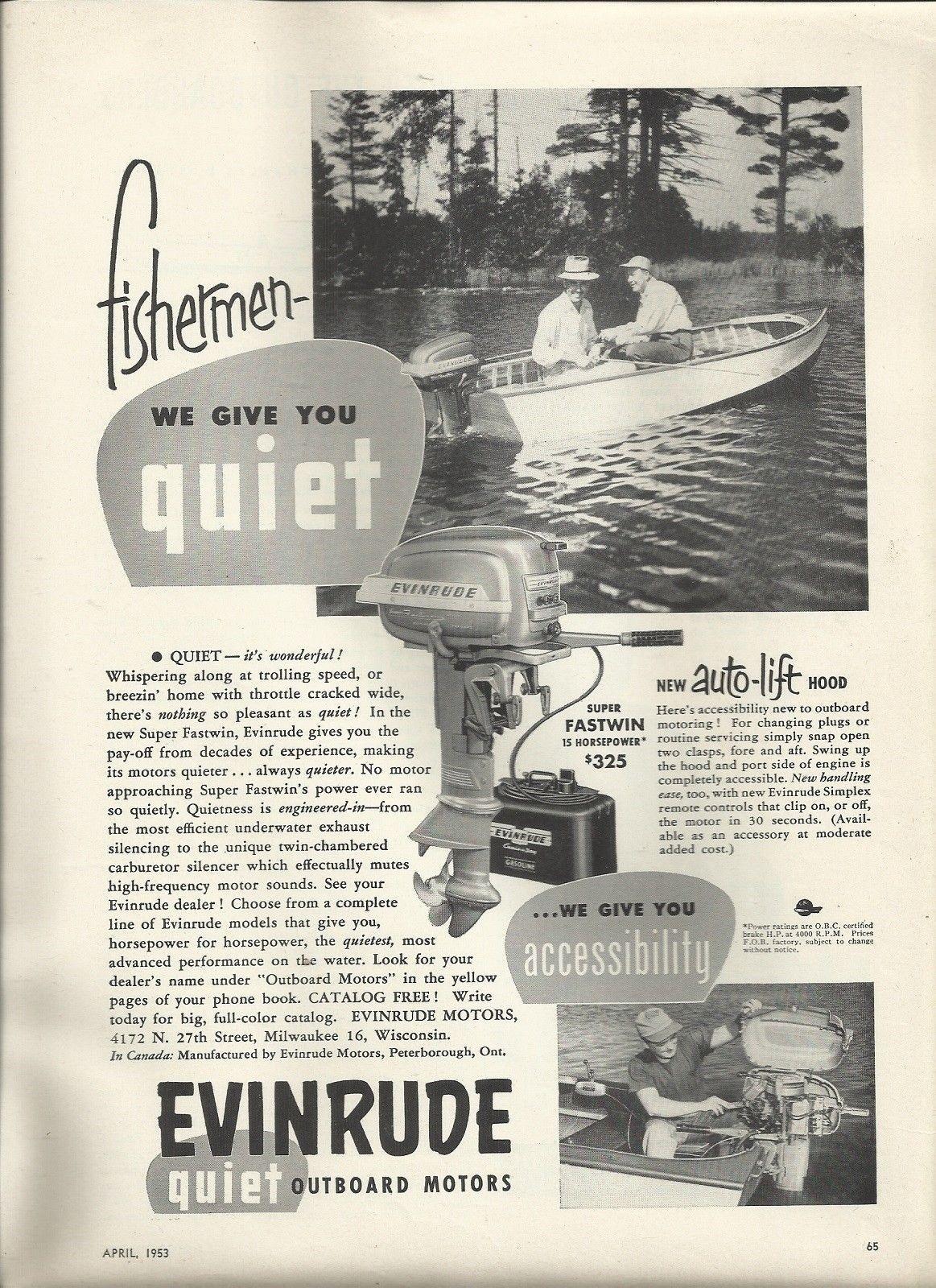 1953 evinrude motors ad the super fastwin 15 hp outboard motors boats boat [ 1163 x 1600 Pixel ]