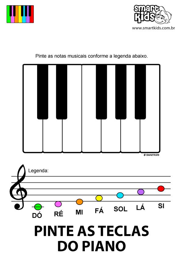 Colorir Desenho Pinte As Teclas Do Piano Educacao Musical