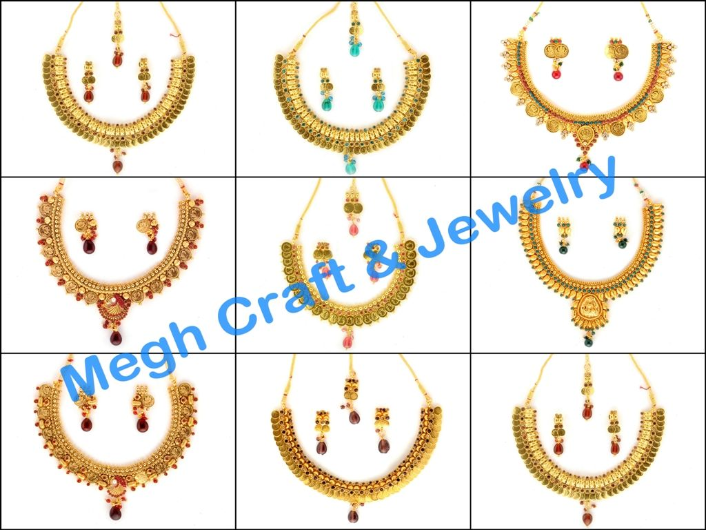 Designer laxmi coin gold necklace retail