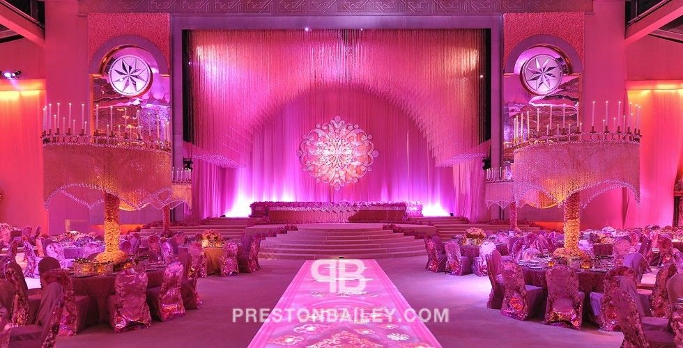 wedding stage decoration pics%0A Preston Bailey Doha Qatar Wedding Reception chair cover crystals stage tall  centerpiece color coral color