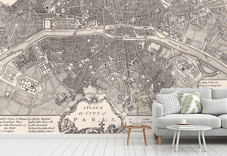 Vintage Paris Map Wallpaper Antique Map Wall Murals