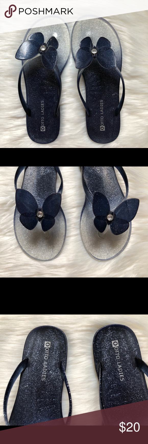 b4e63cc3cf35b Otto Ladies butterfly jelly sandals SZ 8 Preowned Otto ladies flip flop  Jelly material Adorable butterfly accessory Size euro 38 Excellent  condition ...