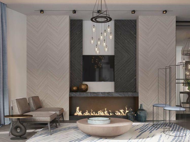 Farbkombination Grau Braun Weiß Teppich Farbakzente Wandverkleidung # Wohnzimmer #livingroom
