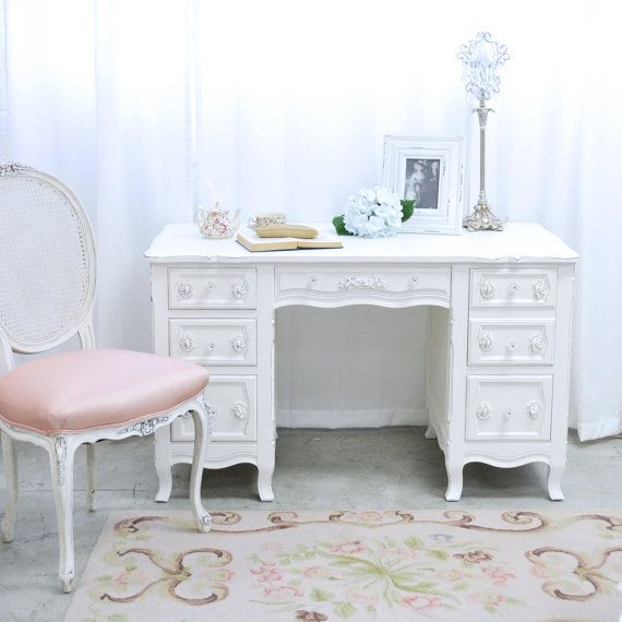 Shabby Cottage Chic 6 Drawer Writing Desk White French Vintage Style Office Furniture