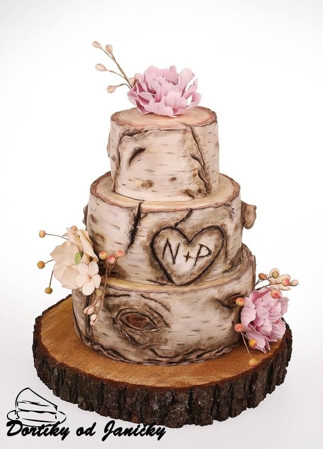 Wedding Cake For Romantic Special Day I Use Fondant For A Cake And Gum Pasta For A Flowers Birch Wedding Cakes Birch Tree Cakes Wedding Cake Stands