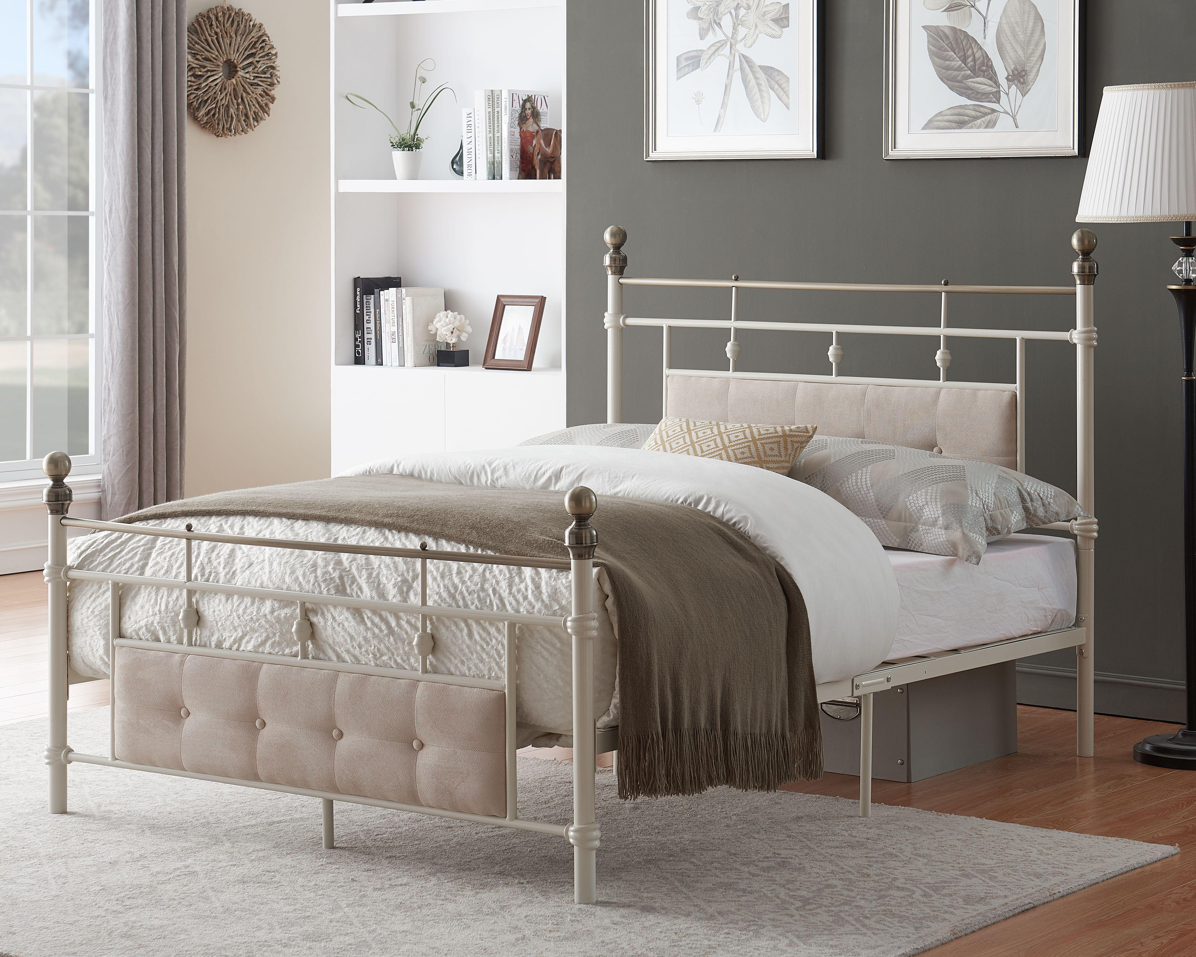 Metal Bed Frame Platform Bed with Upholstered Headboard