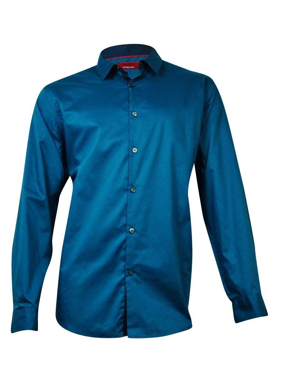 Alfani Men's Holden Slim-Fit Solid Stretch Shirt (Twilight Teal, XXL)