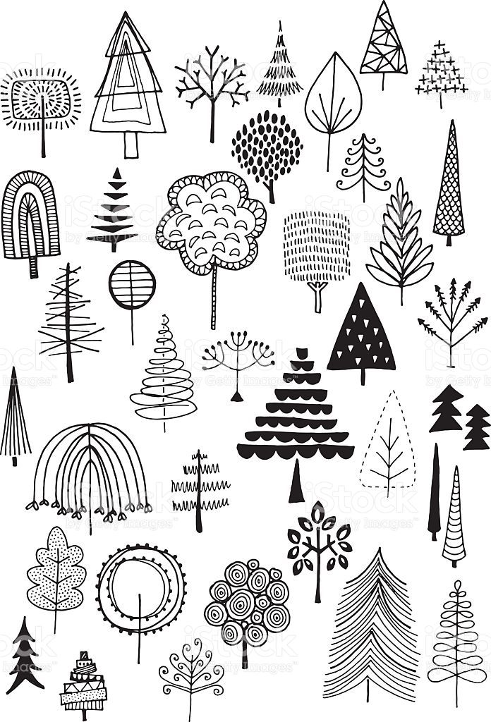 Hand drawn vector doodle trees, quirky and fun nature and ...