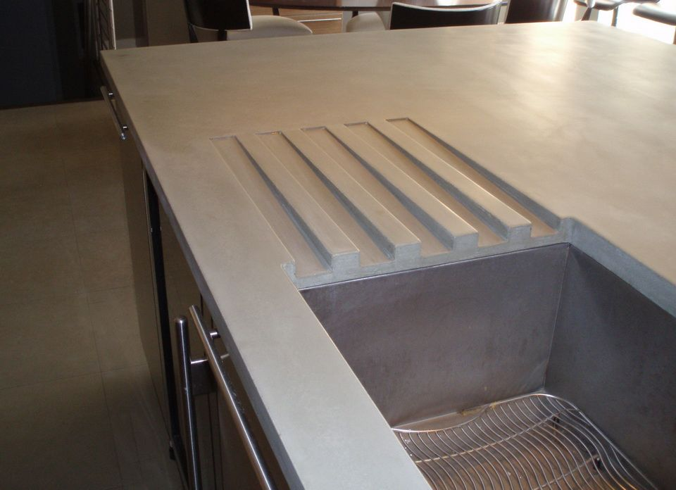 Gray Concrete Countertop With Integral Drainboards And Undermount
