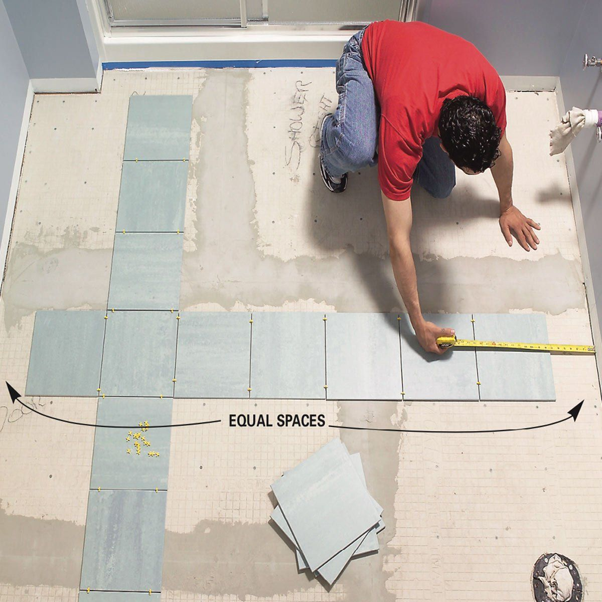 How to Lay Tile: Install a Ceramic Tile Floor In the Bathroom | The Family Handyman | Tile floor, Installing tile floor, Ceramic floor tiles