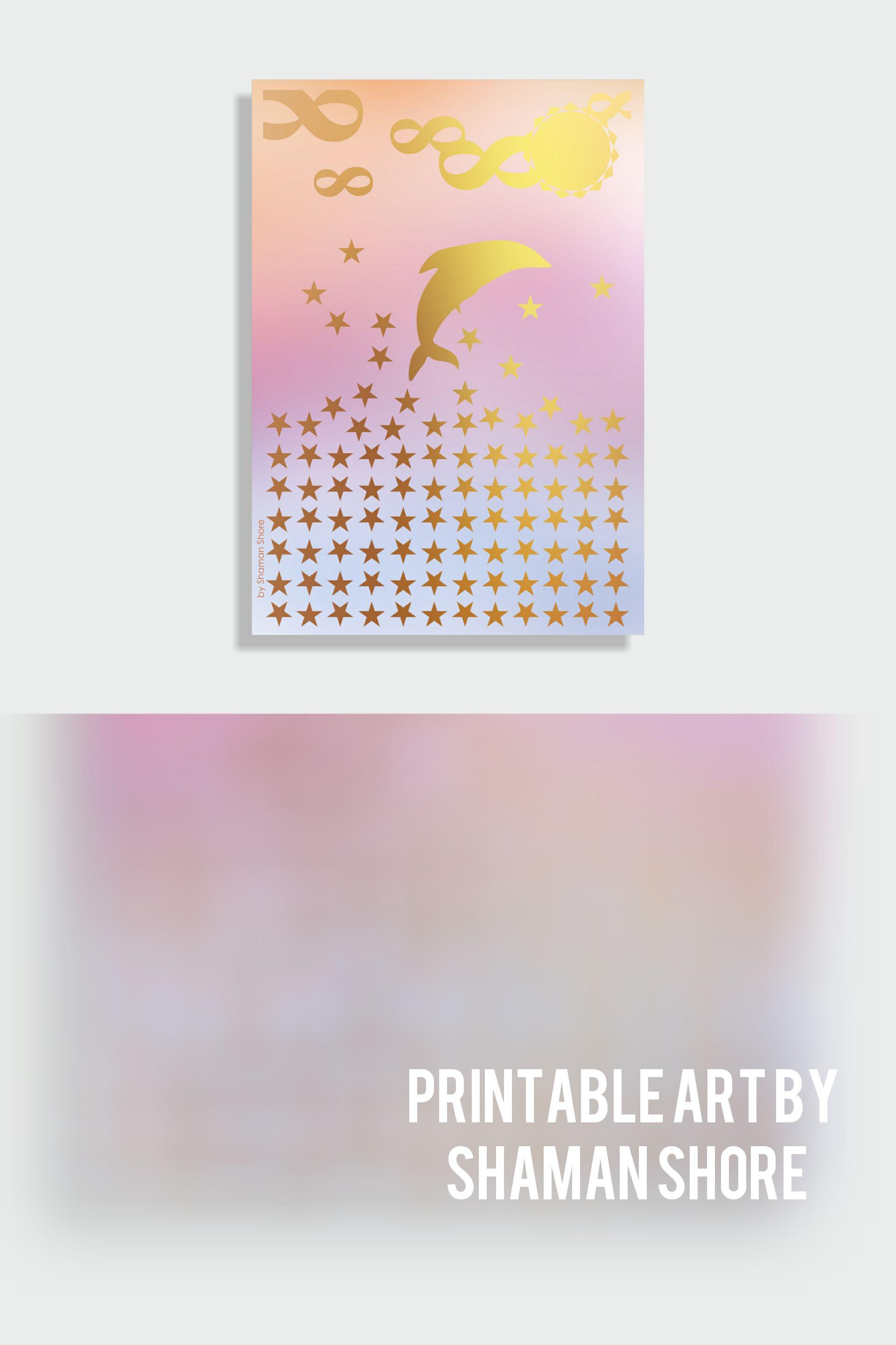 Pink gold nursery art pink gold nursery wall art dolphin pink gold