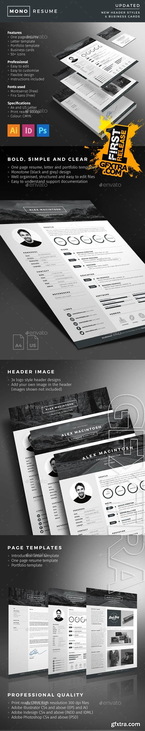 Buy Mono Resume by ikonome on GraphicRiver