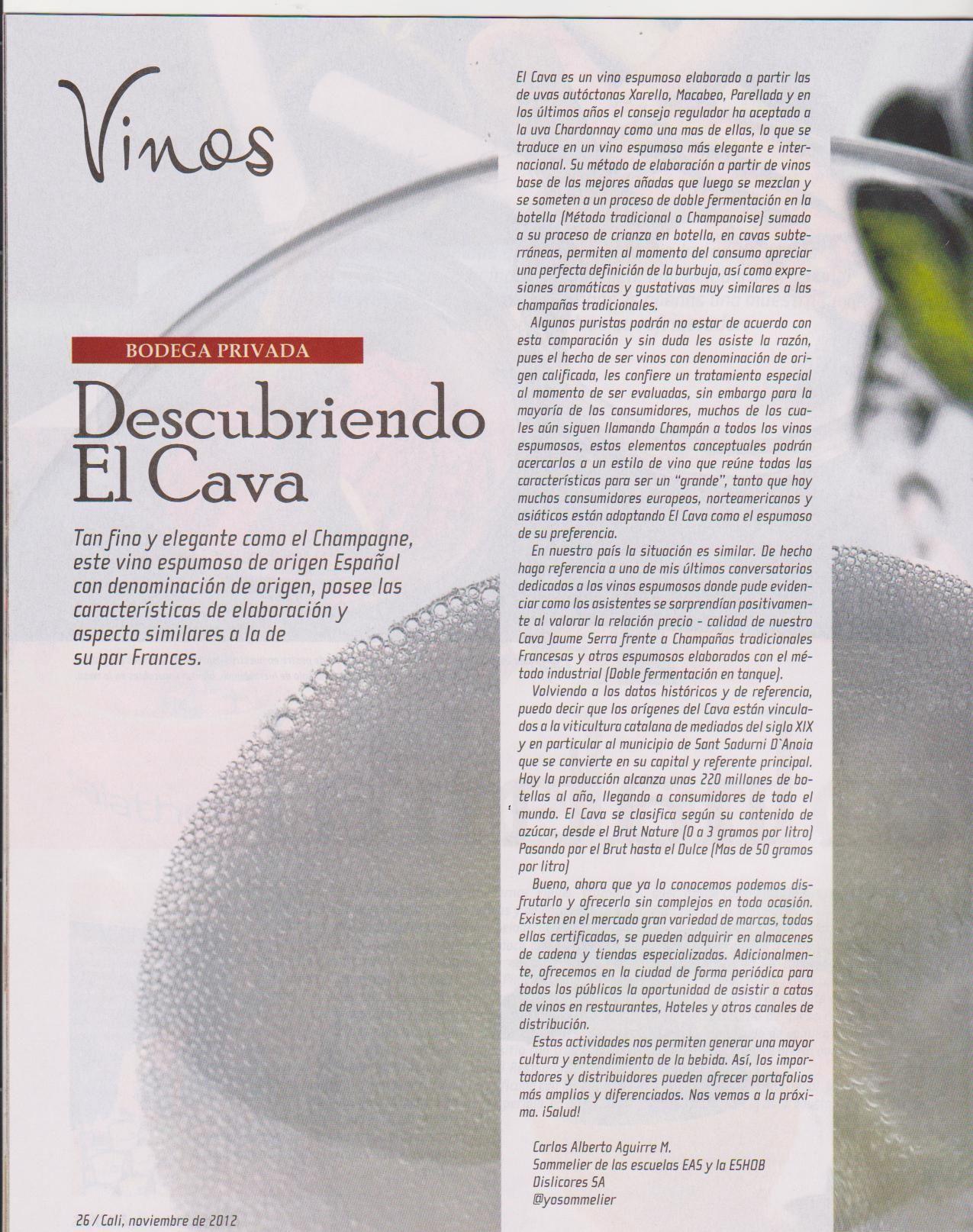 Mi articulo en el la revista Sabores del diario El Pais de Cali, Colombia