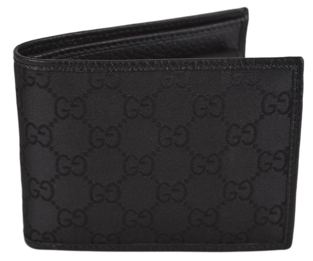 77a9b9c7379f New Gucci Men's 143384 Black Nylon GG Guccissima Logo Coin Pocket Bifold  Wallet #Gucci #Bifold