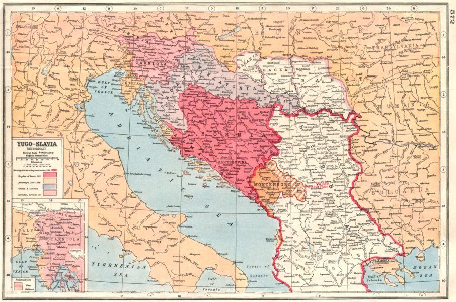 Old map of Yugoslavia from 1920 Old