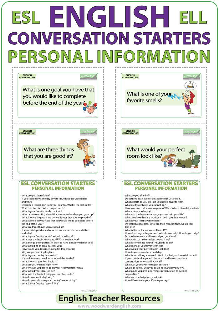 ESL Conversation Starters - Personal Information ...