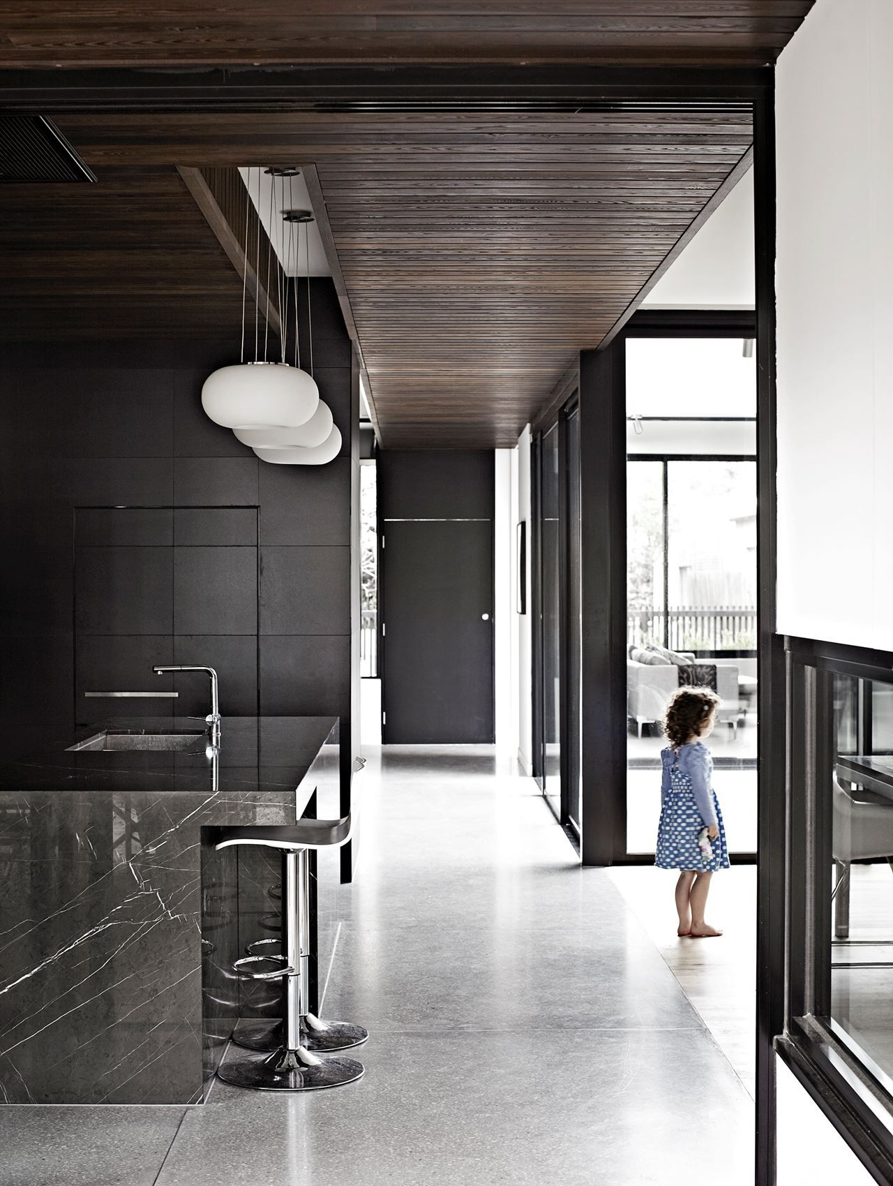 Black Kitchen Cabinets Black Marble Island Timber Panelled - Black and white floor tile kitchen