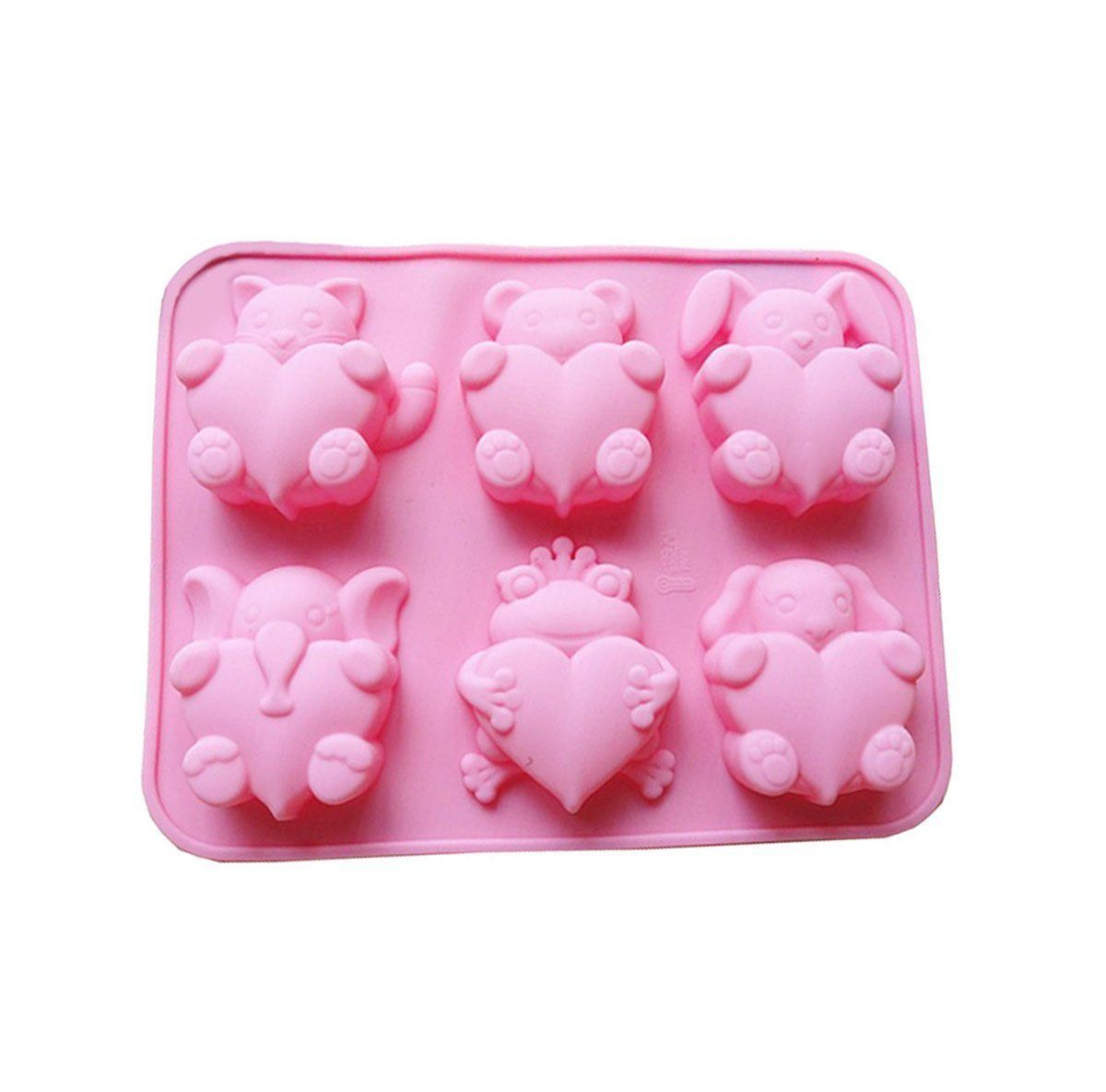 Silicone Molds Soap Molds 6 Cavity Heart Silicone Molds Baking Mold Silicone Cake Mold Ice Cube Tray Chocolate Mold Cake Mold Muffine Silicone Mold,Set of 2