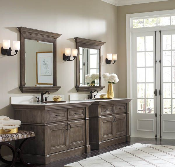Makeover Bathroom Vanity Omega Cabinetry Free Vanity Makeover Gray Stained Cabinets Staining Cabinets Bathroom Cabinetry