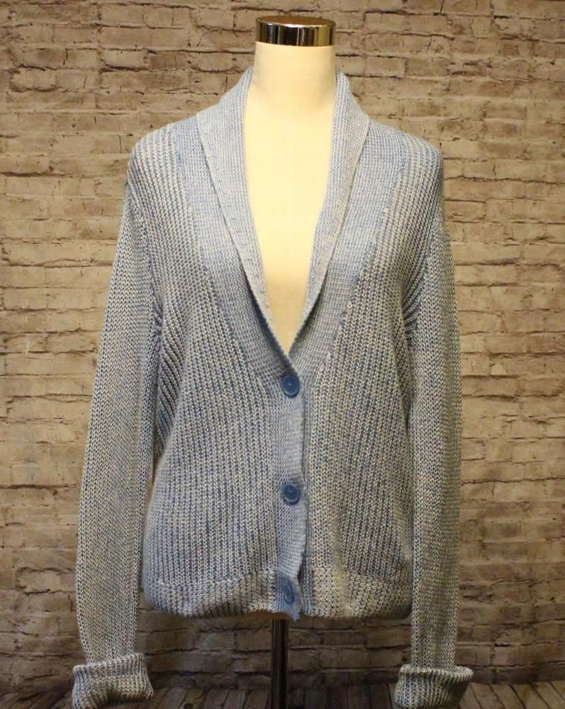 Light Blue Cardigan Sweater Size L Large American Eagle AE Melange ...