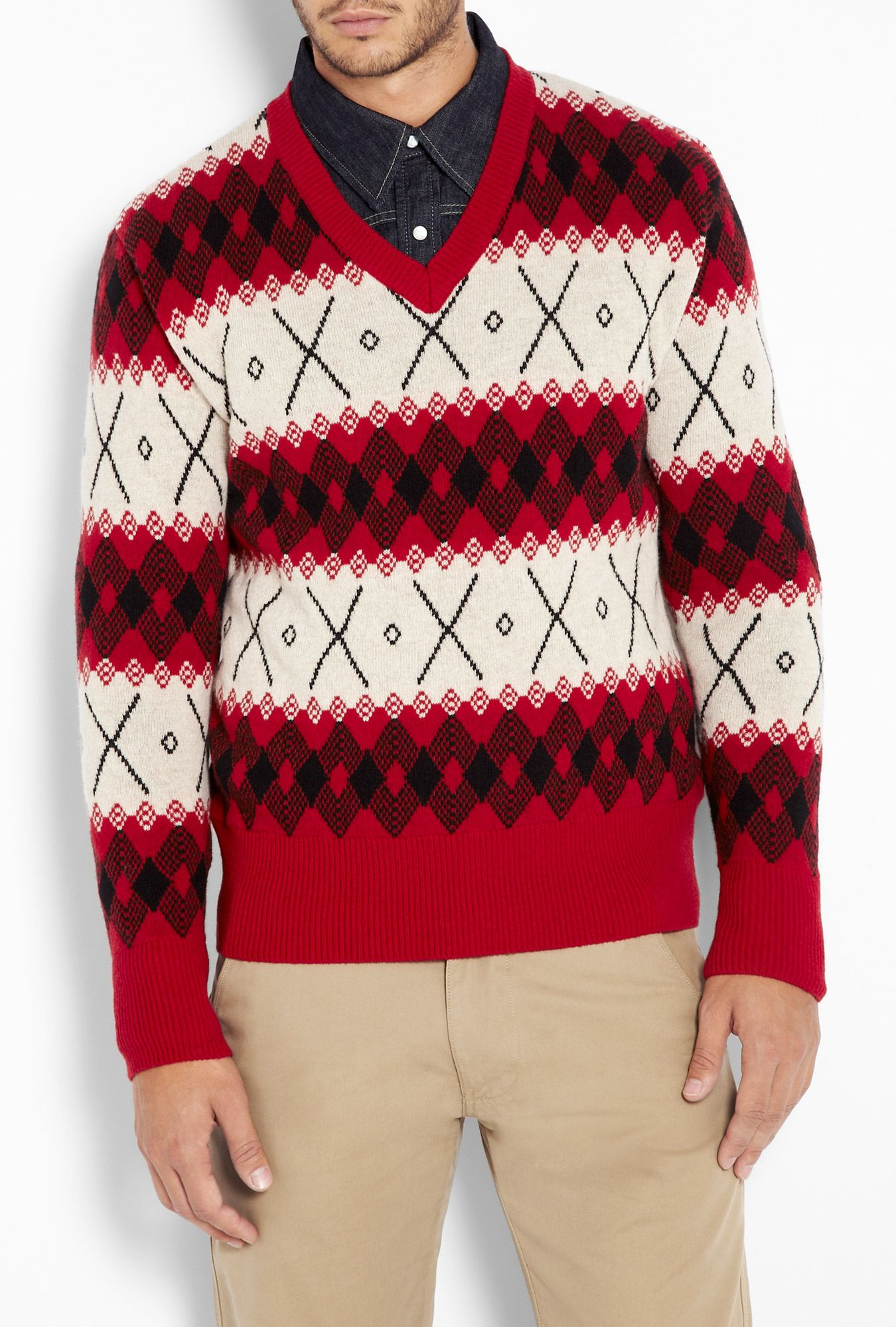 Red 1930s Replica Fairisle V Knit by Levi s Vintage Clothing