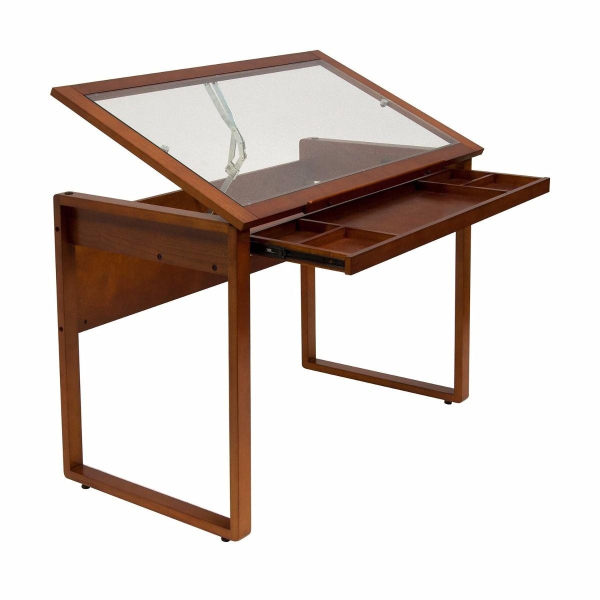 mesa dibujo restirador madera sonoma marrn y vidrio  Taller