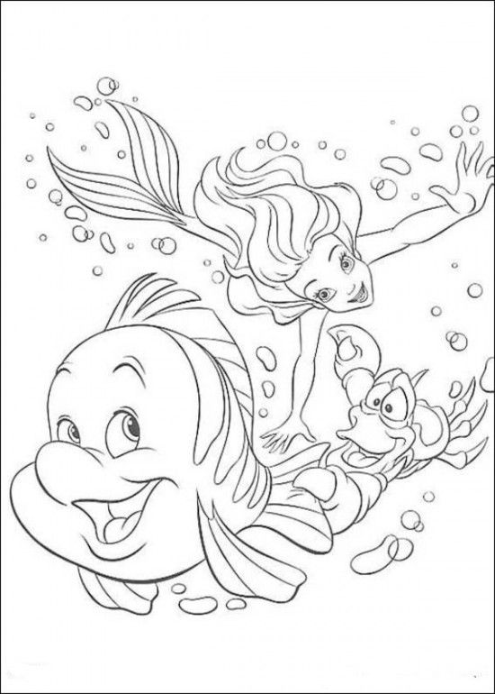 Coloring Pages Of Ariel The Little Mermaid Picture 14 550x770