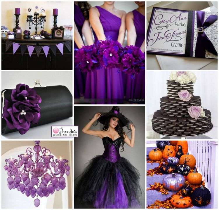 Black & Purple Halloween Wedding Inspiration Board with a Cookie ...