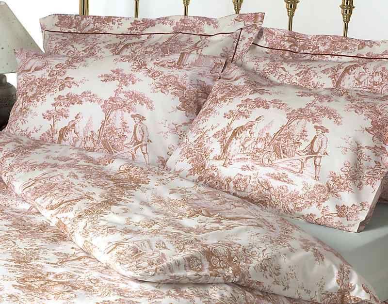 Toile De Jouy Pink Bedding Set 100 Cotton Pink Bedding Set Pink Duvet Cover Bed Linens Luxury